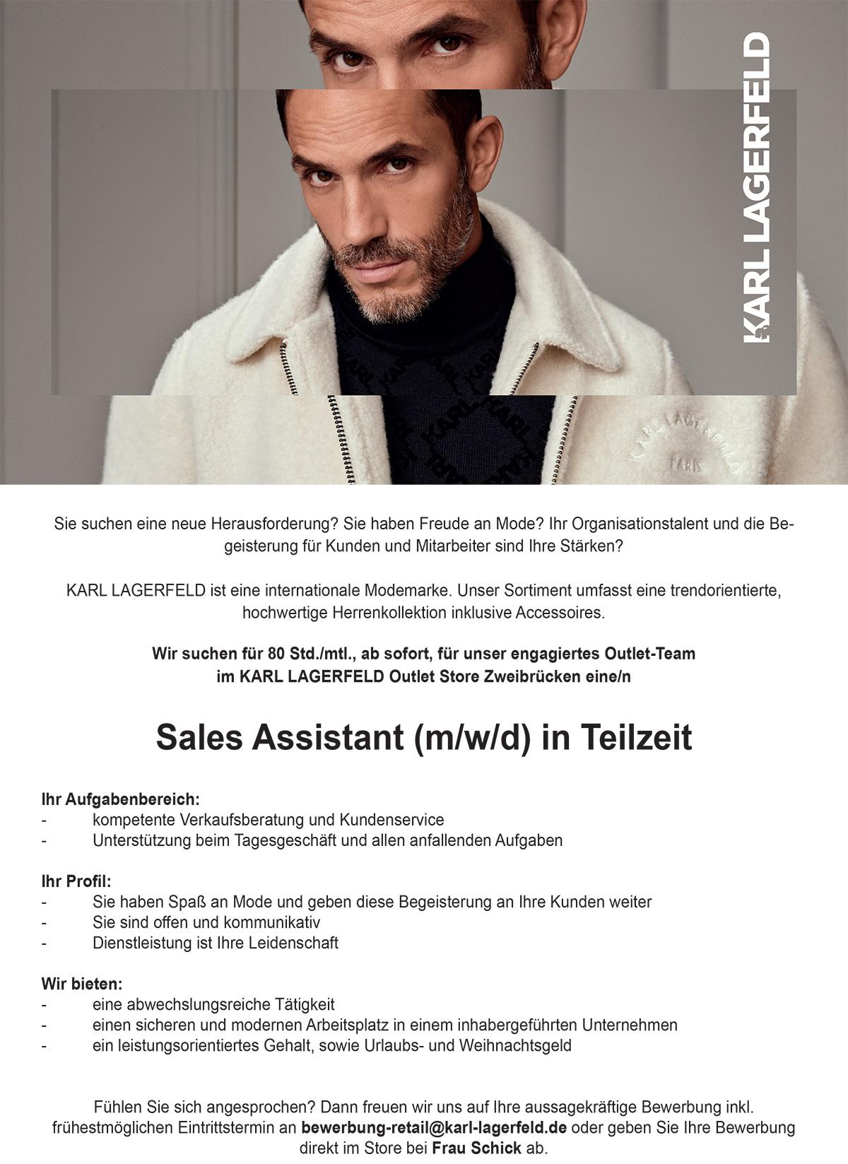 Sales Assistant M W D In Teilzeit Zweibrucken