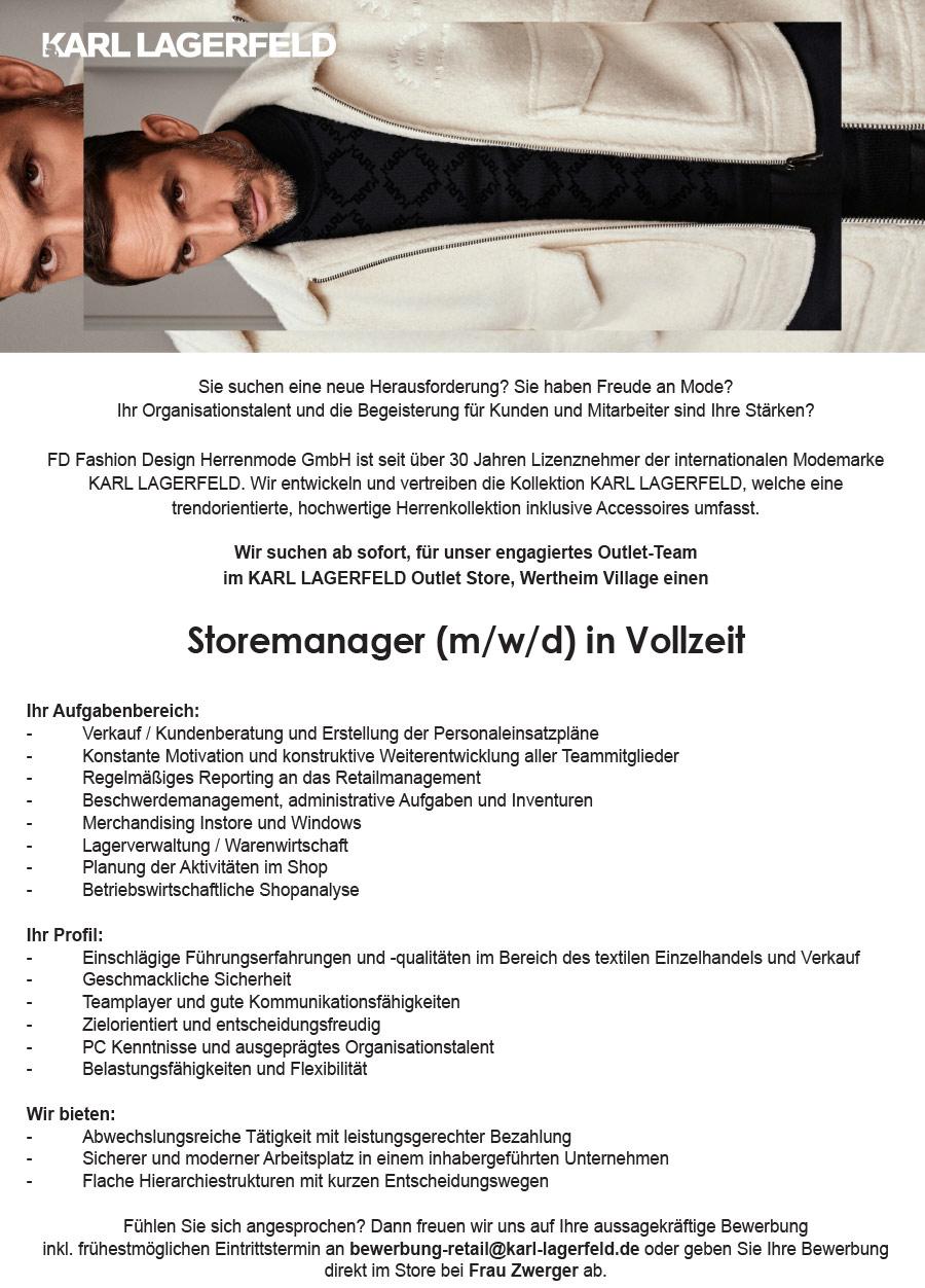 Storemanager M W D In Vollzeit Wertheim Village